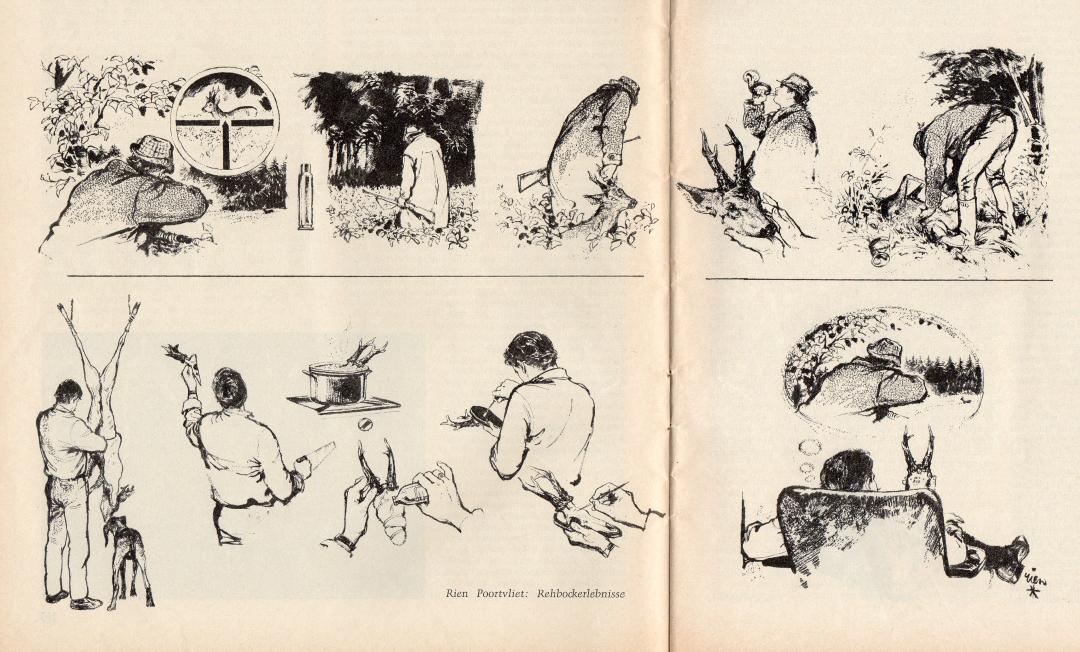 Tekening Rien Poortvliet: Rehbockerlebnisse (WuH 1969)