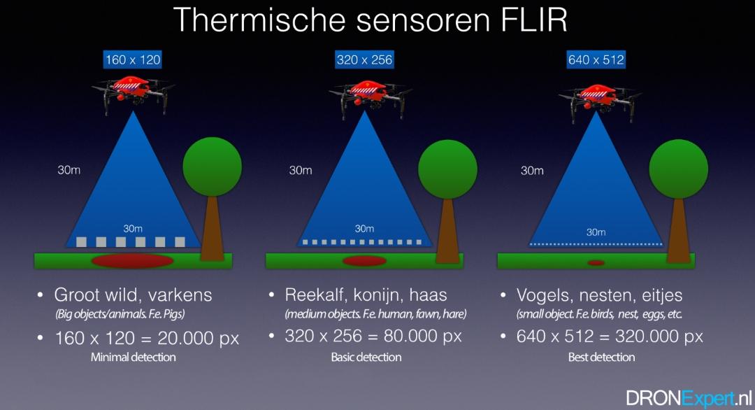 Afbeelding: Vergelijken FLIR resoluties warmtedetectie voor natuurdrone, bron: DRONExpert